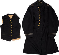 Beautiful Regulation 1864-1865 Navy Assistant Paymaster Frock Coat and Vest. ... (Total: 2)