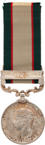 Militaria:Insignia, British George VI India General Service Medal With North West Frontier 1936-37 Clasp to a Soldier in a Sikh Regiment.. ...