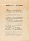Military & Patriotic:WWII, Facsimile Print of the Instrument of Surrender of Imperial Japan Printed Aboard the U.S.S. Missouri, Tokyo Bay, Ja...