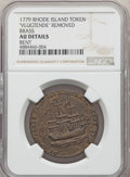 1778-79 MEDAL Rhode Island Ship Medal, VLUGTENDE Removed, Brass -- Bent -- NGC Details. AU. Betts-562, Breen-1139, Whitm...