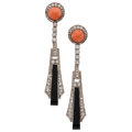 Estate Jewelry:Earrings, Diamond, Coral, Black Onyx, White Gold Earrings. . ...
