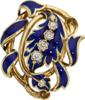 Estate Jewelry:Brooches - Pins, Victorian Diamond, Enamel, Gold Brooch. ...