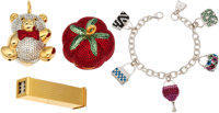 Judith Leiber Set of Four: Dice Holder, Charm Bracelet, Tomato Pill Box, and Teddy Bear Ornament Condition: 3 See Ex...