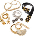 Luxury Accessories:Accessories, Judith Leiber Set of Five: Gold, Silver and Leather Belts. Condition: 3. See Extended Condition Report for Sizes...... (Total: 5 )