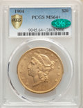 Liberty Double Eagles, 1904 $20 MS64+ PCGS. CAC. PCGS Population: (36895/5783). NGC Census: (38892/7447). MS64. Mintage 6,256,797....