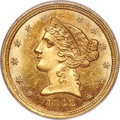 Liberty Half Eagles, 1842-C $5 Small Date MS63+ PCGS. Variety 1....