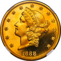 Proof Liberty Double Eagles, 1888 $20 PR66 Ultra Cameo NGC. JD-1, R.6....