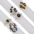 Estate Jewelry:Rings, Sapphire, Diamond, Gold Rings. ... (Total: 5 Items)