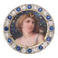 Estate Jewelry:Brooches - Pins, Diamond, Sapphire, Platinum, Gold Brooch . ...