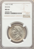 1937-D 50C Boone MS64 NGC. NGC Census: (159/377). PCGS Population: (240/542). CDN: $210 Whsle. Bid for problem-free NGC/...