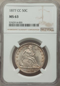 Seated Half Dollars: , 1877-CC 50C MS63 NGC. NGC Census: (39/65). PCGS Population: (55/81). CDN: $1,700 Whsle. Bid for problem-free NGC/PCGS MS63....