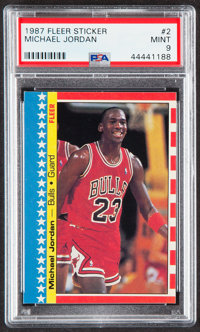 1987 Fleer Sticker Michael Jordan #2 PSA Mint 9
