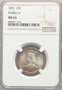 1893 25C Isabella Quarter MS63 NGC. NGC Census: (791/1645). PCGS Population: (1294/2149). MS63. Mintage 24,214. From