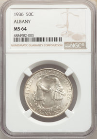 1936 50C Albany MS64 NGC. NGC Census: (890/1925). PCGS Population: (1725/2746). CDN: $195 Whsle. Bid for problem-free NG...