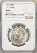 Commemorative Silver, 1935-D 50C Arkansas MS66 NGC. NGC Census: (114/27). PCGS Population: (248/53). CDN: $225 Whsle. Bid for problem-free NGC/PC...