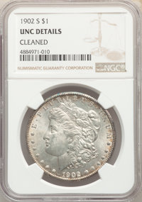1902-S $1 -- Cleaned -- NGC Details. Unc. NGC Census: (27/2523). PCGS Population: (32/4634). CDN: $335 Whsle. Bid for pr...