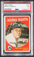 Baseball Cards:Singles (1950-1959), 1959 Topps Mickey Mantle #10 PSA VG 3....