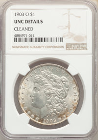 1903-O $1 -- Cleaned -- NGC Details. Unc. NGC Census: (24/8313). PCGS Population: (38/13796). CDN: $410 Whsle. Bid for p...