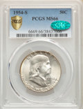 Franklin Half Dollars, 1954-S 50C MS66 PCGS. CAC. PCGS Population: (498/8). NGC Census: (487/8). CDN: $125 Whsle. Bid for problem-free NGC/PCGS MS...