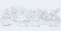 The Flintstones Dinner with the Flintstones and the Rubbles Publicity Drawing Preliminary (Hanna-Barbera, c. 1990s)