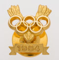 Olympic Collectibles:Autographs, 1984 Olympic Pin Presented to Carl Lewis....