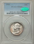 Washington Quarters, 1961 25C MS66+ PCGS. CAC. PCGS Population: (581/23 and 29/2+). NGC Census: (501/35 and 3/0+). CDN: $36 Whsle. Bid for probl...