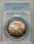 2005 $1 Silver Eagle MS68 PCGS. PCGS Population: (456/13469). NGC Census: (2265/133272). Mintage 8,891,025. ...(PCGS# 99...