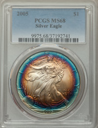2005 $1 Silver Eagle MS68 PCGS. PCGS Population: (456/13469). NGC Census: (2265/133272). Mintage 8,891,025
