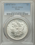 1878 7/8TF $1 Weak MS64 PCGS. PCGS Population: (977/206). NGC Census: (127/5). CDN: $185 Whsle. Bid for problem-free NGC...