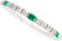 Art Deco Emerald, Diamond, Platinum Bracelet, Van Cleef & Arpels