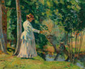 Paintings, Armand Guillaumin (French, 1841-1927). Madame Guillaumin pêchant, circa 1894. Oil on canvas. 19-3/4 x 24 inches (50.2 x ...
