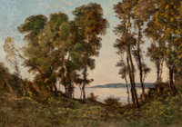 Henri-Joseph Harpignies (French, 1819-1916) Les bords de l'Allier, 1894 Oil on canvas 15 x 21-3/4 inches (38.1 x 55.2