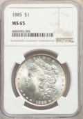1885 $1 MS65 NGC. NGC Census: (10823/1999). PCGS Population: (9517/1766). MS65. Mintage 17,787,768