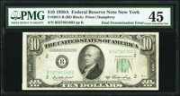 Fr. 2011-B $10 1950A Federal Reserve Note/$1 Silver Certificate Double Denomination. PMG Choice Extremely Fine 45