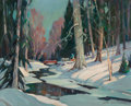 Paintings, James King Bonnar (American, 1883-1961). Winter Woods. Oil on canvasboard. 16 x 20 inches (40.6 x 50.8 cm). Signed lower...
