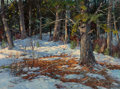 Paintings, Earle A. Titus (American, 1895-1962). Dappled Sunlight in Snowy Woodland. Oil on canvas laid on Masonite. 23-1/2 x 31-1/...