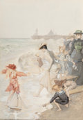 Albert Lynch (Peruvian, 1851-1912) Playing Surf Side Watercolor on paper 16 x 11 inches (40.6 x 2