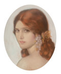Works on Paper, Penrhyn Stanlaws (American, 1887-1957). Red-haired Woman with Pearl Earrings. Pastel on paper. 16 x 12-1/2 inches (40.6 ...
