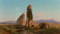 Paintings, Allessandro La Volpe (Italian/Danish, 1820-1887). Ruins of the Aqueduct on the Roman Campagna, 1869. Oil on canvas. 15 x...