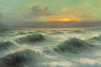 Frausin (American, 20th Century) Rolling Waves Oil on canvas 24 x 36 inches (61.0 x 91.4 cm) Signed lower left: Fr