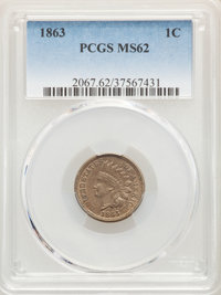 1863 1C MS62 PCGS. PCGS Population: (612/2469). NGC Census: (499/1495). MS62. Mintage 49,840,000