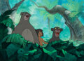 Animation Art:Production Cel, The Jungle Book Mowgli, Baloo, and Bagheera Production Cel and Key Master Background (Walt Disney, 1967). ...
