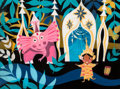 "Animation Art:Concept Art, Mary Blair ""It's a Small World"" Thailand Concept Painting (Walt Disney, 1964/66). ..."