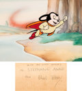 Animation Art:Painted cel background, Mighty Mouse Image on Production Background (Terrytoons, 1945)....