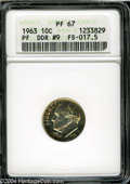 Proof Roosevelt Dimes: , 1963 10C Doubled Die Reverse PR67 ANACS....