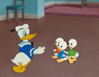 Donald Duck and Three Nephews Production Cel Setup with Background (Walt Disney, c. 1930s-'40s)