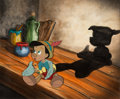 Animation Art:Production Cel, Pinocchio Production Cel and Painted Background (Walt Disney, 1940)....