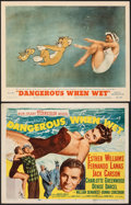 "Movie Posters:Comedy, Dangerous When Wet (MGM, 1953). Fine+, Unbacked & On Paper. Title Lobby Card & Lobby Card (11"" X 14""). Comedy.. ... (Total: 2 Items)"