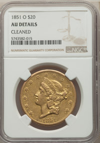 1851-O $20 -- Cleaned -- NGC Details. AU. Variety 1....(PCGS# 8905)