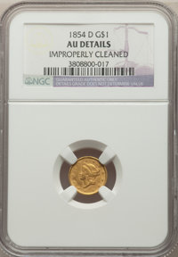 1854-D G$1 -- Improperly Cleaned -- NGC Details. AU. Variety 6-H....(PCGS# 7526)